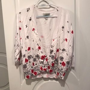 Cathy Daniels 2x white red & gray floral cardigan